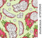 seamless pattern with pitaya... | Shutterstock .eps vector #675919045