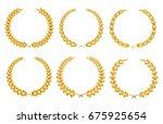 golden laurel wreaths.laurel... | Shutterstock .eps vector #675925654
