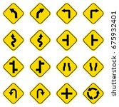 set of road sign icons | Shutterstock .eps vector #675932401