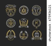 set of linear golden brewery... | Shutterstock .eps vector #675936121