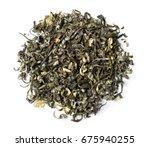 Green Tea With Jasmine On Whit...