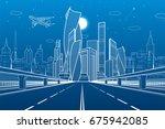 wide highway. urban... | Shutterstock .eps vector #675942085