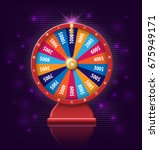 fortune wheel with glowing... | Shutterstock .eps vector #675949171
