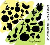 vegetables and fruit... | Shutterstock .eps vector #675951505