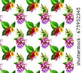 tropical flowers and leaves... | Shutterstock . vector #675952345