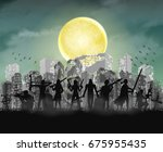 halloween zombie slayer team... | Shutterstock .eps vector #675955435