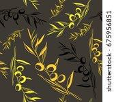 olives seamless pattern. vector ... | Shutterstock .eps vector #675956851