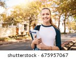 young caucasian college student ... | Shutterstock . vector #675957067