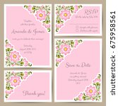 set of wedding cards with hand... | Shutterstock .eps vector #675958561