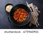 stir fry with chicken meat and...   Shutterstock . vector #675960901