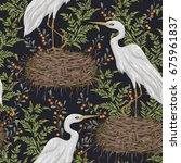 seamless pattern with heron... | Shutterstock .eps vector #675961837