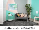 trendy comfortable room with... | Shutterstock . vector #675962965