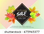 autumn sale banner design with... | Shutterstock .eps vector #675965377