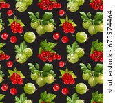 seamless vector red currant and ... | Shutterstock .eps vector #675974464
