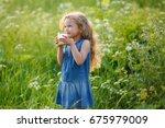 beautiful cheerful little girl... | Shutterstock . vector #675979009