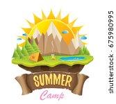 vector summer campinng concept... | Shutterstock .eps vector #675980995