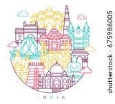 india detailed skyline. travel... | Shutterstock .eps vector #675986005