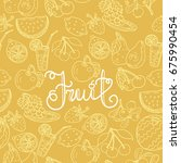 yellow pattern with fruits and... | Shutterstock .eps vector #675990454