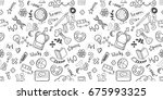 back to school seamless vector... | Shutterstock .eps vector #675993325