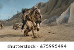 soldier carrying injured one... | Shutterstock . vector #675995494