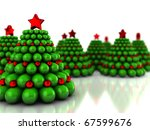 Abstract 3d illustration of Christmas trees forest, over white background - stock photo