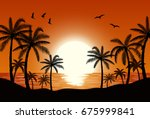 silhouette palm tree on beach... | Shutterstock .eps vector #675999841