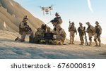 soldiers are using drone for... | Shutterstock . vector #676000819