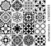 Stock vector vector tile pattern lisbon floral mosaic mediterranean seamless black and white ornament 676005355