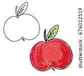 apple outline paper like... | Shutterstock .eps vector #676012519