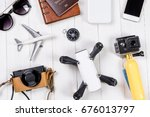 travel objects and accessories... | Shutterstock . vector #676013797