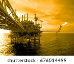 an offshore oil and gas... | Shutterstock . vector #676014499