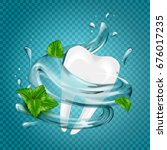 tooth water splash and mint ... | Shutterstock .eps vector #676017235