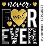 forever slogan and gold foil... | Shutterstock .eps vector #676018339