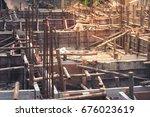 formwork beam steel reinforce... | Shutterstock . vector #676023619