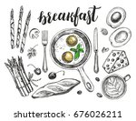 breakfast set. fried eggs in a... | Shutterstock .eps vector #676026211