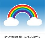 color rainbow with clouds ... | Shutterstock .eps vector #676028947
