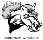 Mascot Mustang Horse Head, proud and tough, which gives tribute to traditional school mascots but with a new look and attitude. Suitable for all sports. - stock vector