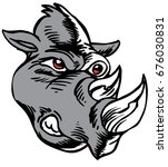 Mascot Rhino Head, proud and tough, which gives tribute to traditional school mascots but with a new look and attitude. Suitable for all sports. - stock vector