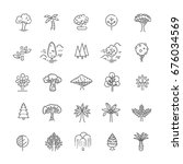 set of tree shape vector line... | Shutterstock .eps vector #676034569