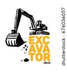 Excavator Emblem. Vector...