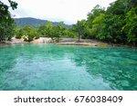 emerald pool in tropical...   Shutterstock . vector #676038409
