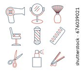 linear barbershop icons set....