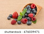 composition from fresh fruit on ... | Shutterstock . vector #676039471