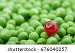 fresh green peas with berries....   Shutterstock . vector #676040257