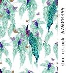 unusual azure tropical print... | Shutterstock . vector #676044499