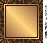 a square golden background with ... | Shutterstock .eps vector #676045321