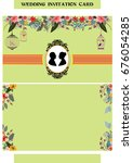 wedding invitation card with... | Shutterstock .eps vector #676054285