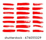 painted grunge stripes set. red ... | Shutterstock .eps vector #676055329
