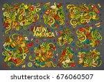vector hand drawn doodle... | Shutterstock .eps vector #676060507