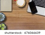 mock up cell phone on laptop... | Shutterstock . vector #676066639